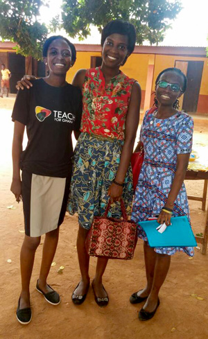 Left to right: Teach For Ghana Fellows Emily, Makafui and Wilhelmina at one of their workshops on sexual and reproductive health