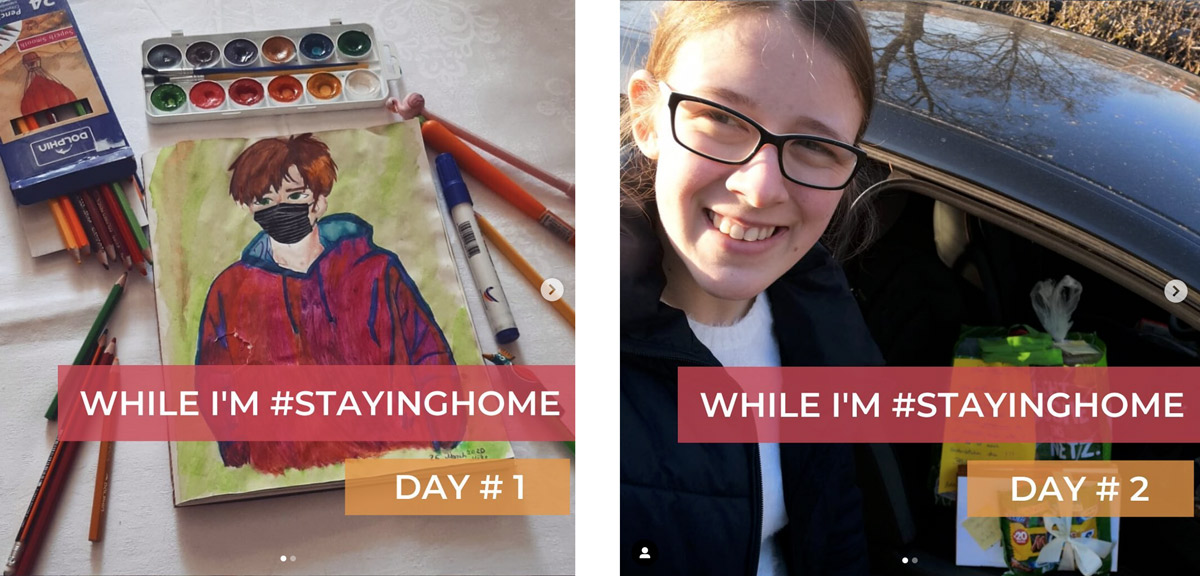 "Two Instagram posts of a painting and selfie with ""While I'm #Staying Home"" banners"